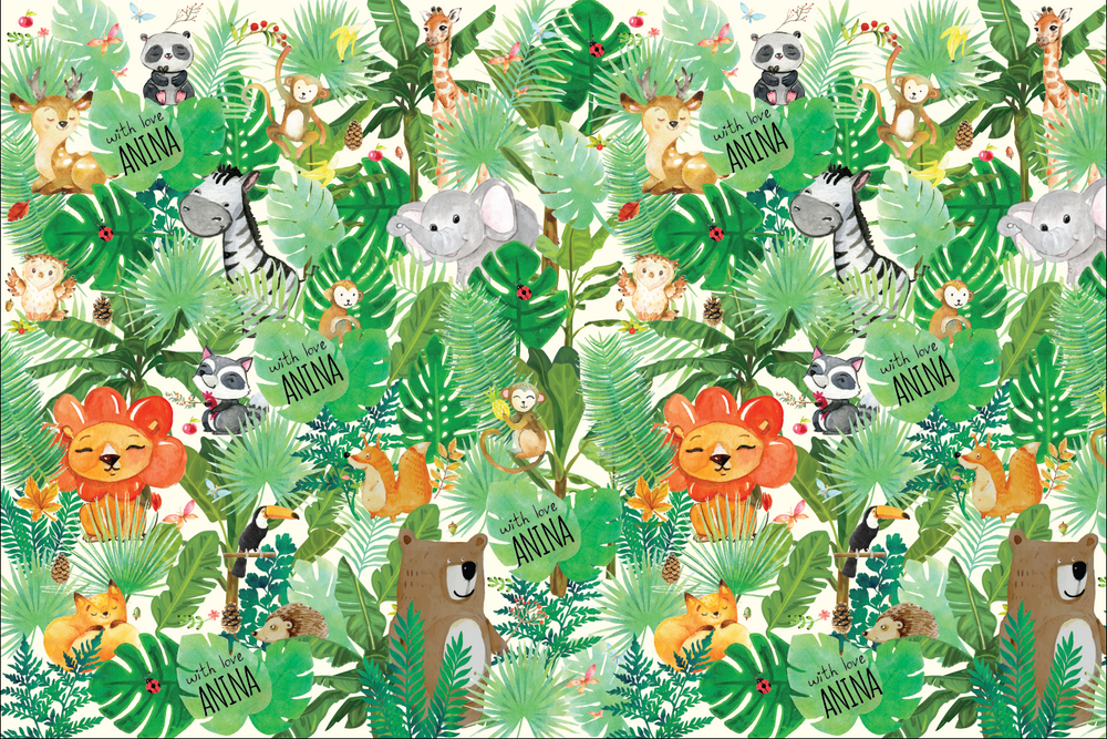 Jungle Customized 100 Wrapping Sheets