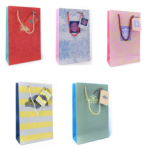Assorted gift bags with personalised tags. Pack of 10