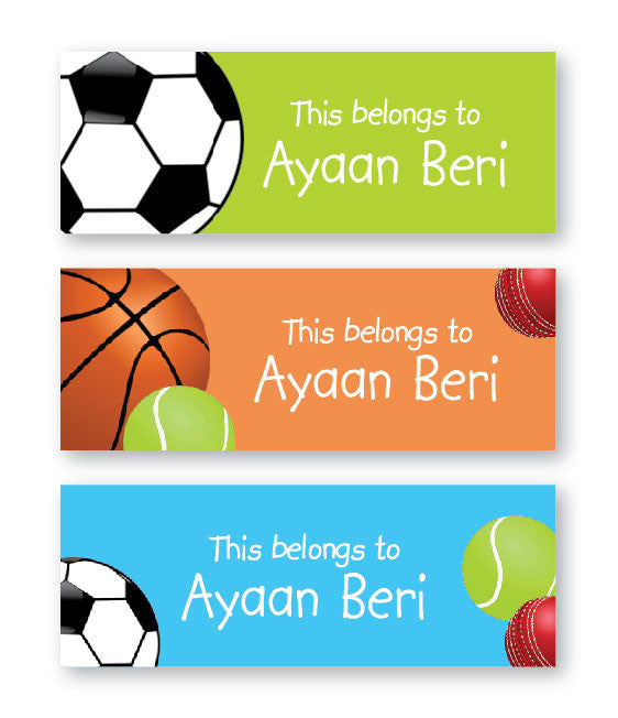 Sports Balls Book Labels