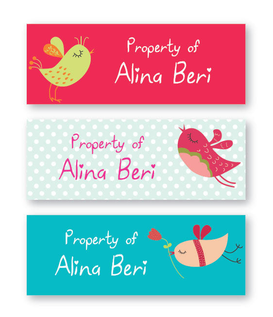Cute Birds Book Labels