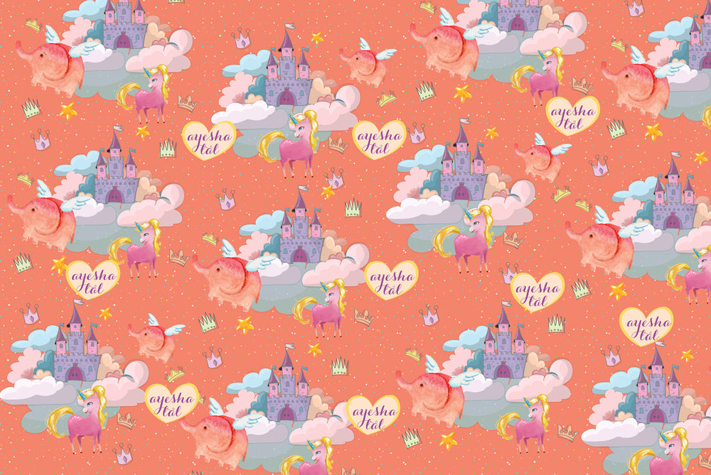Castle & Unicorn Customized 100 Wrapping Sheets