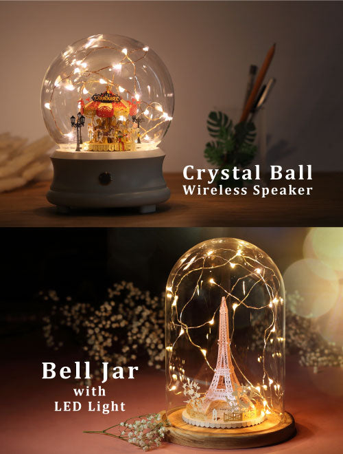 Crystal Ball / Bell Jar with LED Star Light