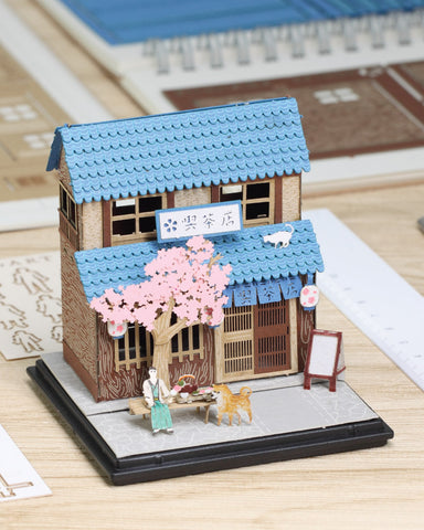 Tea House - FingerART Paper Art Model with Plastic Box (SJ-514) - POSTalk