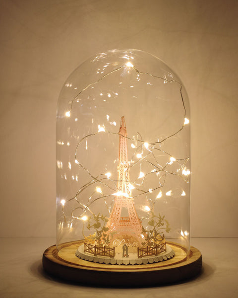 Eiffel Tower Light Model (Couple In Love Series) + Bell Jar with LED Star Light