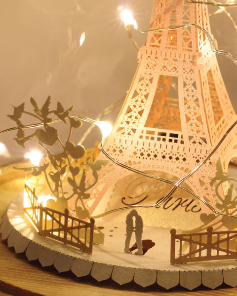 Eiffel Tower (Couple in Love Series) + Glass Bell Jar with LED Star Light, POSTalk (LM46) (AF05) - POSTalk