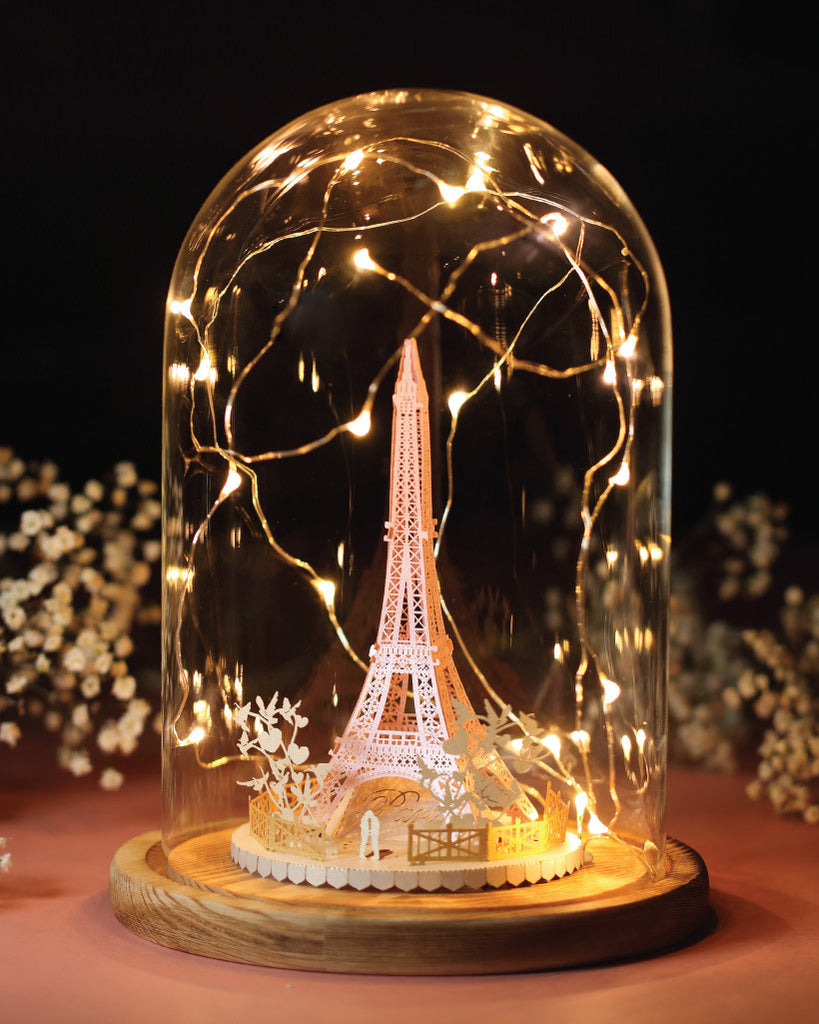 Eiffel Tower Light Model (Couple In Love Series) + Bell Jar with LED Star Light [SPECIAL PACKAGE]