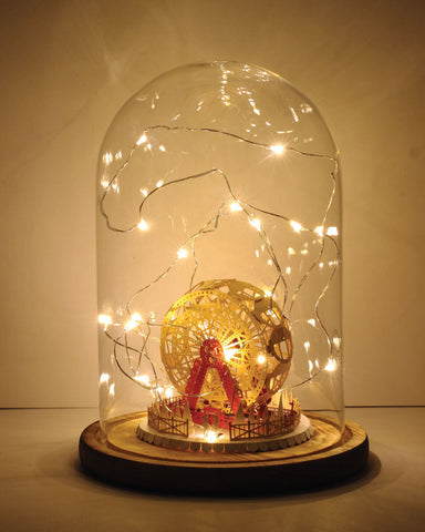 Ferris Wheel (Couple in Love Series) + Glass Bell Jar with LED Star Light, POSTalk (LM47) (AF05) - POSTalk