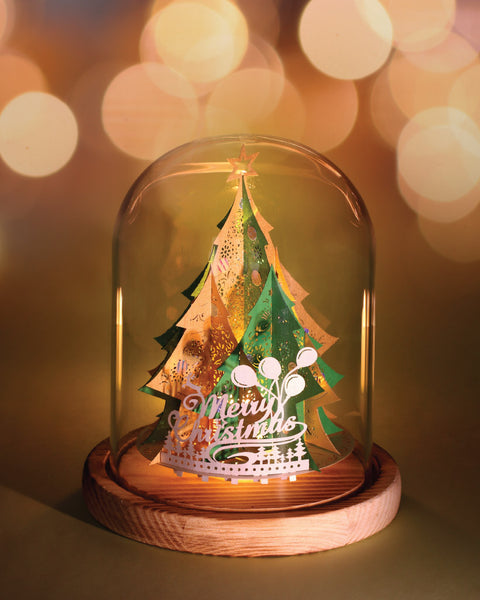 Xmas Tree (Green / Gold) + Glass Bell Jar with LED Candle Light, POSTalk (LM54) - POSTalk