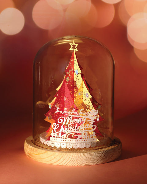 Xmas Tree with Bell jar and LED candle light (Red/Gold)