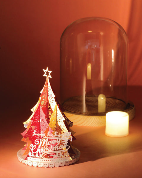 Xmas Tree (Red / Gold) + Glass Bell Jar with LED Candle Light, POSTalk (LM57) - POSTalk