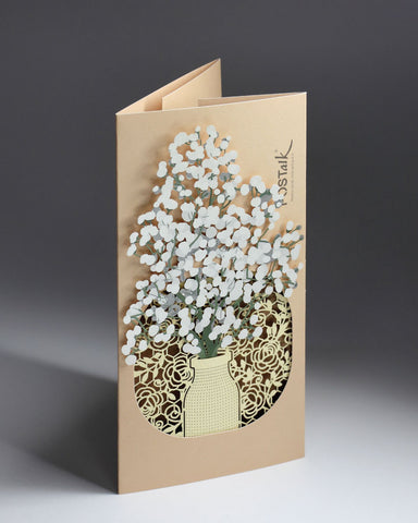 POSTalk gypsophila POP-UP Greeting Card (Fleuriste Series) (FGC-10) - POSTalk