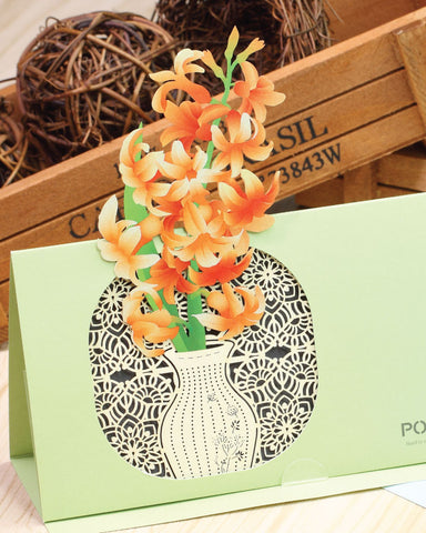 POSTalk hyacinth POP-UP Greeting Card (Fleuriste Series) (FGC-11) - POSTalk