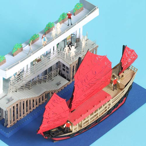 Dukling Junk - Icon of Hong Kong (T.S.T Piers) - FingerART Paper Art Model (HK-5815) - POSTalk
