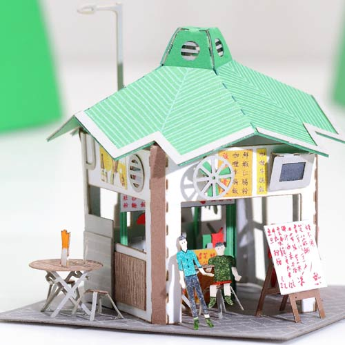Cooked Food Stall - FingerART Paper Art Model with Plastic Box (HK-5817) - POSTalk