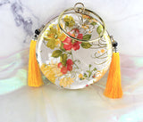 Chinese Vintage Brocade Satin Silk Handbag Case Card Purse Phone Storage With Tassels