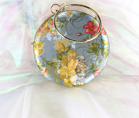 Handmade Chinese Vintage Style Floral Yunjin Brocade Satin Case Handbag for Purse Card Phone Key