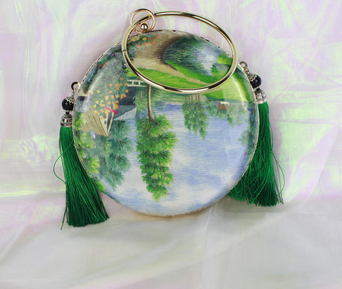 3D Lifelike Handmade Rare Double Side Tree Grassland Chinese Su Embroidery Case Handbag with PVC Layer Dust-free For Key Purse Card Wallet