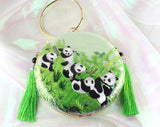 3D Lifelike Handmade Panda Family In the Grassland Chinese Su Embroidery Handiwork Case Handbag with PVC Layer Dust-free For Key Purse Card Wallet