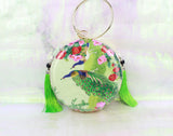 3D Lifelike Handmade Gorgeous Flower Peacock Su Embroidery Chinese Handiwork Case Handbag with PVC Layer Dust-free For Key Purse Card Wallet