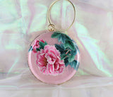 3D Lifelike Handmade Gorgeous Rose Red Peony Flower Su Embroidery Chinese Handiwork Case Handbag with PVC Layer Dust-free For Key Purse Card Wallet