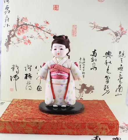 24cm/9.44'' Handmade Asian Exquisite Doll Japanese Hina gofun Art Ichimatsu Doll Figurine Collectibles for Birthday House Office Desk Decorations