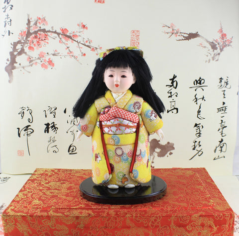 24cm Handmade Cute Girl Doll Japanese Figurine Hina gofun Art Asian Hinamatsuri Statue Ichimatsu Collectibles High Appreciation Value