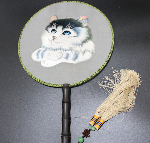 3D Lifelike Chinese Heritage cultural embroidery Cute Cat Stitchwork Exquisite Handiwork Rare Double Side Silk Hand Fan Collectibles