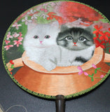 3D Lifelike Chinese Su Embroidery Two Cute Gorgeous Cat In the flower Shrub Nature and Environmental Theme Rare Double Side Silk Hand Fan Birthday/Christmas Gifts Collectibles