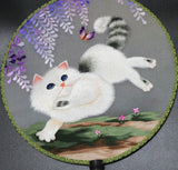 3D Lifelike Cute Puppy Pet Naughty Jumping Cat Exquisite Handiwork Rare Double Side Silk Hand Fan Collectibles Birthday/Christmas Gifts