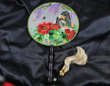 Handmade 3D Lifelike Vibrant Flower Mountain Scenery Embroidery Stitchwork Chinese Decorative Silk Hand Fan Gifts Decor