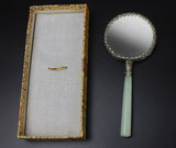 1970s Exlusive Chinese Handmade Enamel Cloisonne Mirror Natural Jade Handle
