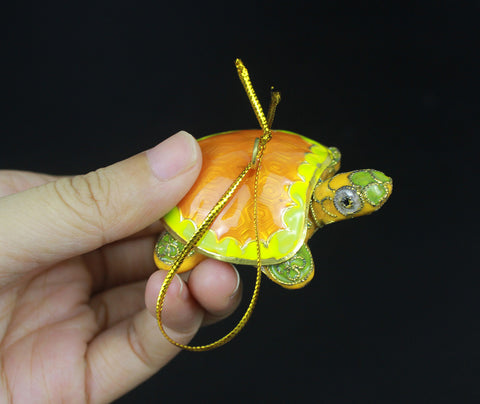 1980s Mini Yellow Turtle Cloisonne Enamel Handmade Thread Weaving Collectible