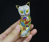 1960s Gold Plated 3Pcs Cat Cloisonne Enamel Handmade Thread Weaving Figurine