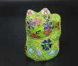1960s Handmade Thread Weaving Turquoise 3D Lucky Cat Figurine Cloisonne Enamel
