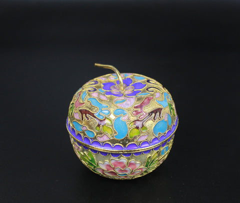 1970s Flower Cloisonne Enamel Thread Weaving Golden Pumpkin Jewellery Case Box