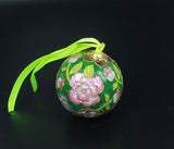 Handmade 1980s 3D Peony Flower Cloisonne Enamel Thread Weaving Ball Antique Gift