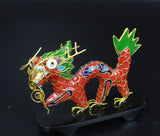 1970s 3D Giant Dragon Cloisonne Enamel Handmade Thread Weaving Figurine Decor