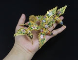 Chinese 1970s Handmade Golden Hollow Hummingbird Enamel Thread Weaving Cloisonne