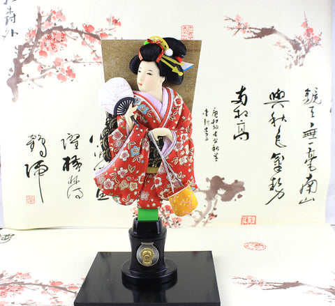 33cm Vintage Detachable Japanese Geisha Kimono Doll Hand-Crafted Wooden Paddle Hagoita Figurine Statue House Desk Decorations …