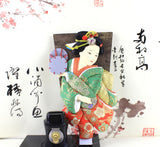33cm/12.99'' Tall Detachable Vintage Japanese Ethnic Traditional Wooden Paddle Hagoita Geisha Kimono Girl Figurine House Desk Decorations High Appreciation Collection Value