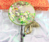 3D Lifelike Birds In the Tree Plants Embroidery Stitchwork Silk Hand Fan Gifts Decor