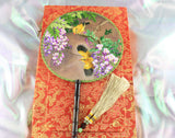 3D Lifelike Yellowbirds In the Tree Embroidery Stitchwork Silk Hand Fan Gifts Decor