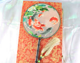 3D Lifelike A Flock of Koi Fishes Embroidery Stitchwork Silk Hand Fan Gifts Decor