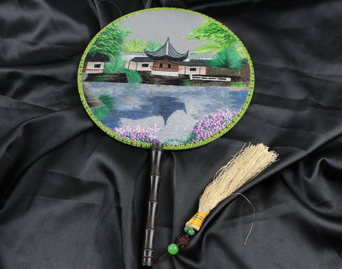 3D Lifelike Garden Lake Pavillion Tree Embroidery Stitchwork Silk Hand Fan Gifts Decor