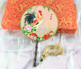 Handmade 3D Lifelike Gorgeous Rooster Animal Embroidery Stitchwork Chinese Decorative Silk Hand Fan Gifts Decor