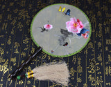 Handmade 3D Lifelike A Piece of Flower And Butterfly Embroidery Stitchwork Chinese Decorative Silk Hand Fan Gifts Decor