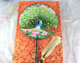 3D Lifelike The Peacock Spread Its Tail Embroidery Double side Silk Hand Fan