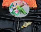 Handmade 3D Lifelike Peacock In the Gorgeous Flower Tree Embroidery Stitchwork Chinese Decorative Silk Hand Fan Gifts Decor
