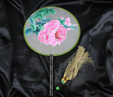 Handmade 3D Lifelike Pink Peony Flower Embroidery Stitchwork Chinese Decorative Silk Hand Fan Gifts Decor