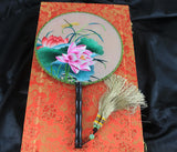3D Lifelike Lotus Flower Dragonfly  Embroidery Stitchwork Chinese Decorative Silk Hand Fan Gifts